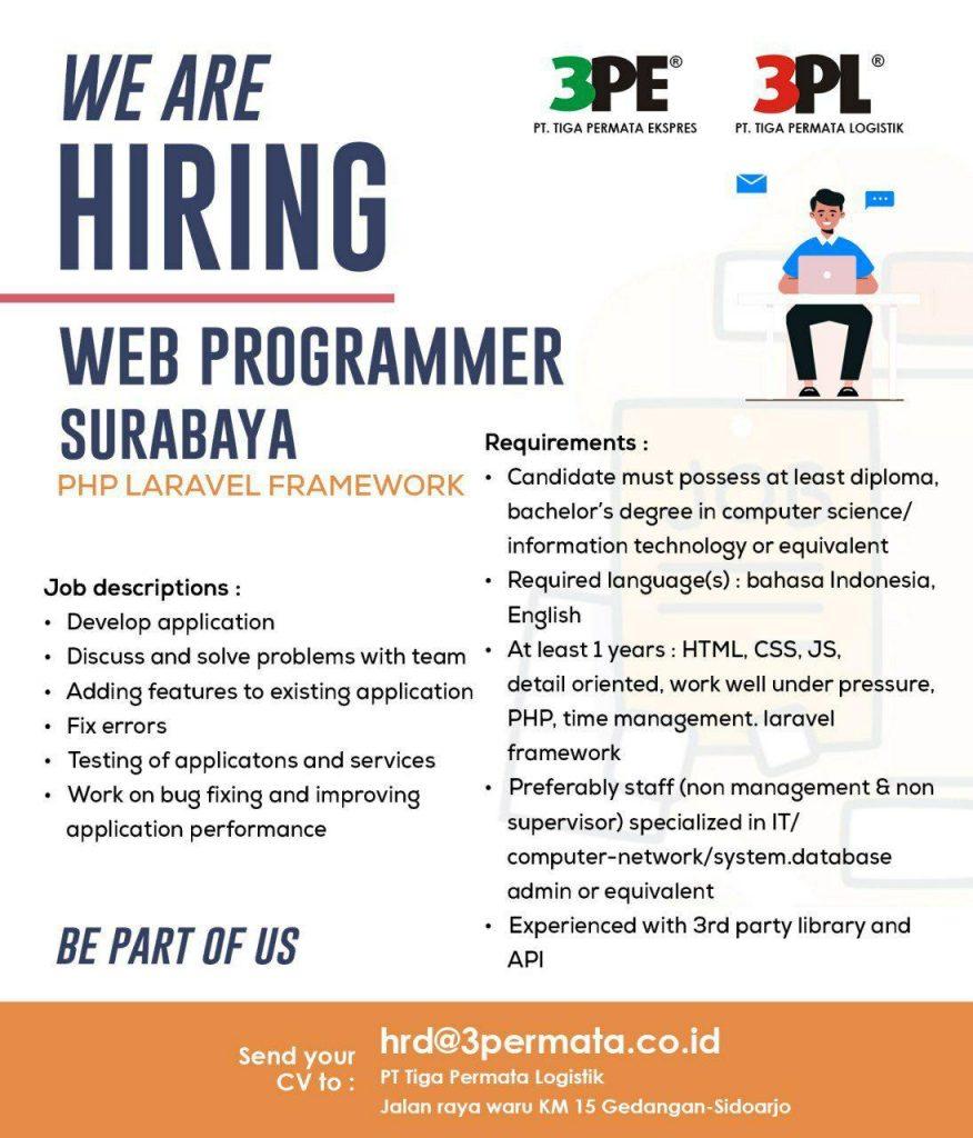 Loker Surabaya Web Programmer 3PL
