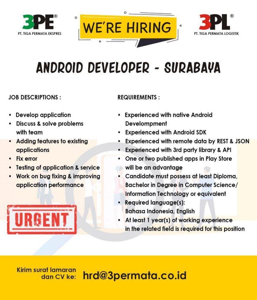 Loker Surabaya Android Developer 3PL